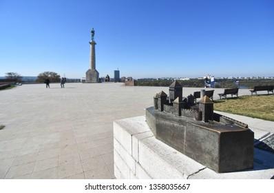 BELGRADE,SERBIA,SEPTEMBER 26 2018 Kalemegdan fortress in Belgrade. Tourist people in Belgrade visiting statue of victory. Belgrade landmark.