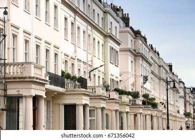 Belgravia in West London, UK. Affluent neighborhood in the City of Westminster and the Royal Borough of Kensington and Chelsea.