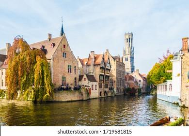Belguim Bruges 30th October 2016 Canal and medieval houses. Bruges Brugge