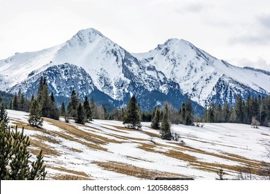 Belianske Tatry mountains in winter, Slovak republic. Seasonal natural scene. Travel destination.