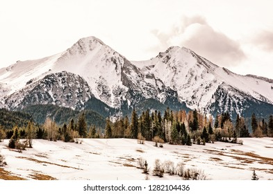 Belianske Tatry mountains in winter, Slovak republic. Seasonal natural scene. Travel destination. Retro photo filter.