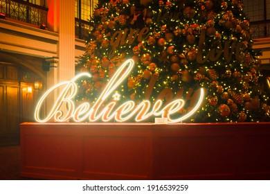 Believe Christmas sign in the Macys