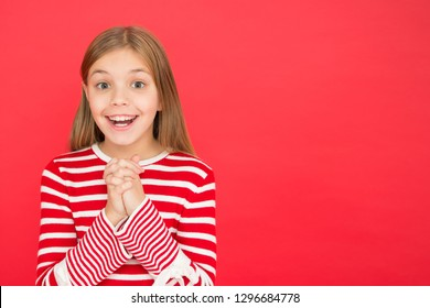 Believe in miracle. Child girl dreaming her wish come true. Miracle happens. Little girl smiling full of hope. My secret wish. Make a wish. Hope for the best. Girl hopeful excited face making wish.