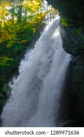I believe this to be a close up view of 65 ft. Dry Falls, located in the Blue Ridge Mountains in the Nantahala National Forest near Highlands, North Carolina.