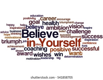 Believe in Yourself, word cloud concept on white background.