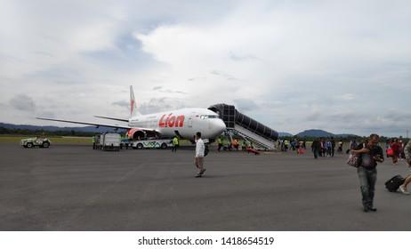 Belitung, Indonesia - 4 June, 2019: Lion Air at H.A.S. Hanandjoeddin Airport
