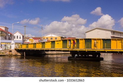 BELIZE CITY, BELIZE - AUGUST 7, 2008: The swing bridge on Haulover Creek in the center of downtown Belize City.