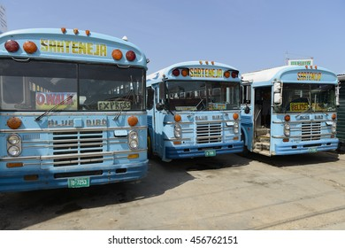 Belize City, Belize - July 14, 2016: Old Blue Bird buses still in service at a bus terminal in Belize City.