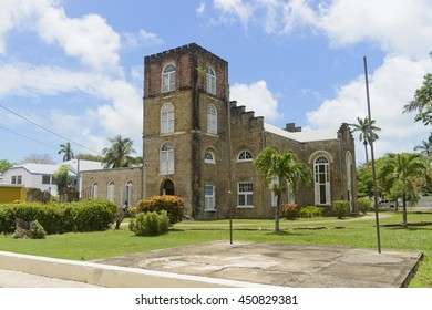 Belize City, Belize - June  24, 2016: View of St John's Anglican Cathedral in Belize City.