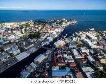 Belize Cityscape with Lighthouse and Caribbean Sea. Belize Old Town