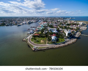 Belize Cityscape with Lighthouse and Caribbean Sea