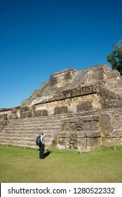 Belize, District of Belize, Belize City area. Altun Ha archaeological site, Mayan ruins. The Sun God Temple. (MR)