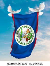 Belize flag carried by white pigeon with sky background