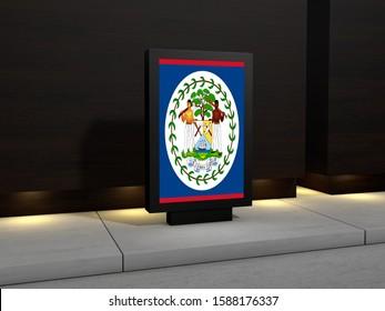 Belize Flag on Modern Advertising Billboard. Flag of Belize for advertising, award, achievement, festival, election.