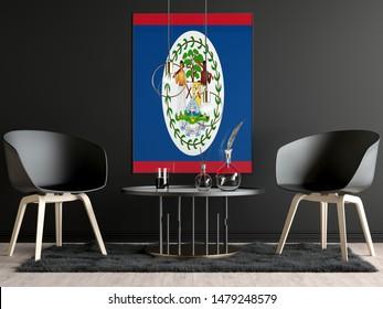 Belize Flag in Room, Belize Flag in Photo Frame