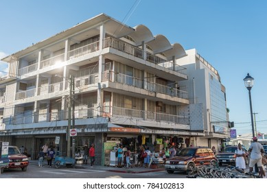 BELIZE - NOVEMBER 17, 2017: Belize Cityscape with Local People and Architecture
