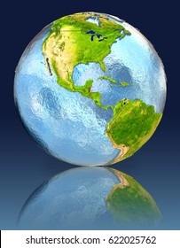 Belize on globe with reflection. Illustration with detailed planet surface. Elements of this image furnished by NASA.