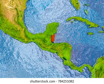 Belize in red on realistic map with embossed countries. 3D illustration. Elements of this image furnished by NASA.