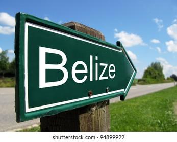 Belize signpost along a rural road