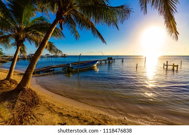 Belize. Sunrise at Caye Caulker Island