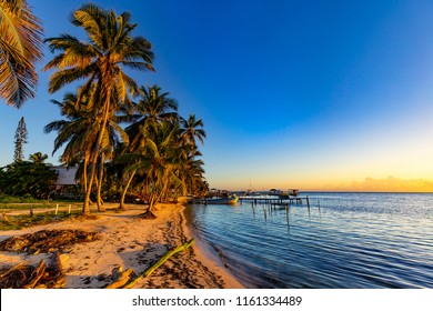 Belize. Sunrise at Caye Caulker Island
