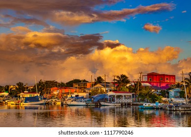 Belize. Sunset on San Pedro Town, Ambergris Caye Island