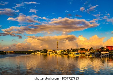Belize. Sunset over San Pedro Town, Ambergris Caye Island