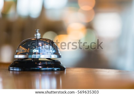 Bell with bokeh background vintage service