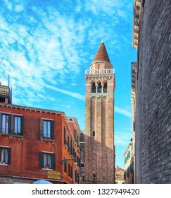 bell of Church of San Polo and blue sky