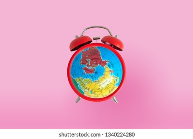 Bell clock with global on the front for timing concept