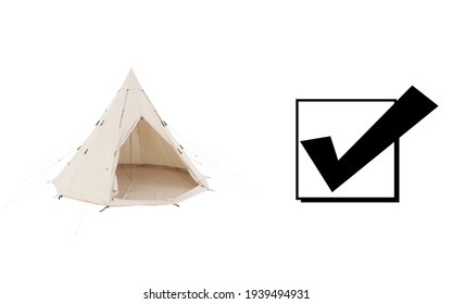 Bell Dome Tent Isolated on White Background. Side and Front View of Beige Dome Tent. Cream Canvas Camping Tent. Alpine Tent. Camping Equipment