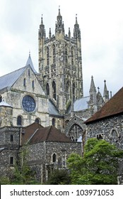 The Bell Harry Tower at Canterbury Cathedral viewed from the North East with part of the Chapter House