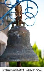 Bell at Monastery of Twelwe Apostles, Capernaum, Israel.