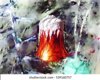 A bell on the Christmas tree, a watercolour effect