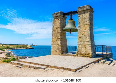 Bell on the ruins of the ancient city of Chersonese on the Black Sea coast in Sevastopol in the Crimea in Russia