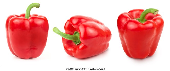 Bell pepper Isolated on white background. Collection Set. Pepper Clipping Path