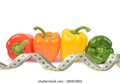 bell pepper with measuring tape isolated on white background