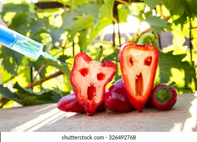 bell pepper next to a syringe against, gmo food concept