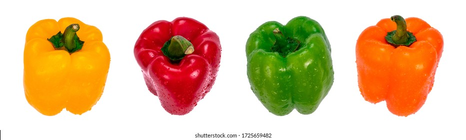 Bell peppers of different colors arranged in a row with water drops, isolated on white background. Macro photography of fresh vegetable