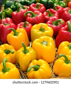 Bell peppers sorted by color
