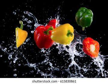 Bell peppers peppers with splash isolated on black background, motion action.