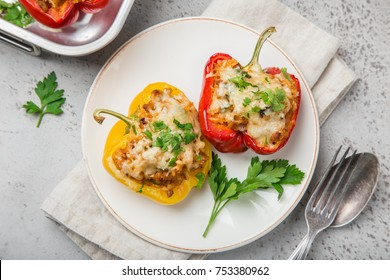 bell peppers stufed with meat,  vegetables and cheese, top view