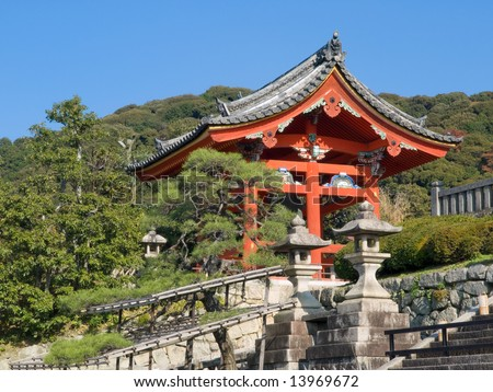 Bell shrine at the entrance of Kiyomizu Temple in Kyoto Japan