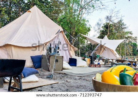 Bell Tent Decoration Camping Party Stove Stock Photo Edit Now Classy Bell Tent Decor