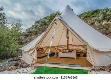 Bell Tent at a glamping camp in the mountain region of Andalucia in Spain