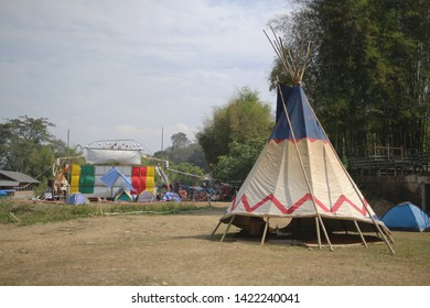 Bell tent. indian teepee. Camping tent tourist tent camping in mountains