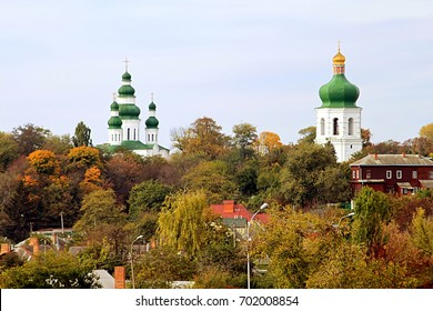 Bell Tower (17th century) and church of Eletsky Women's monastery and the city of Chernihiv, Ukraine