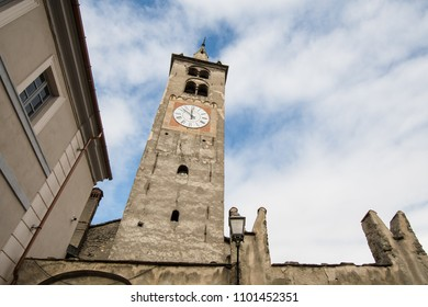 Bell Tower of Aosta Cathedral, Aosta, Valle d'Aosta, Italy