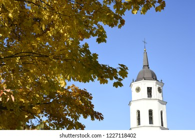 Bell Tower and Autumn Leaves - Vilnius, Lithuania