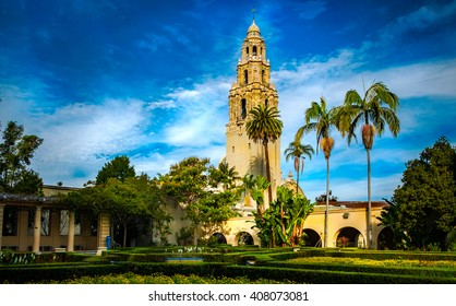 Bell tower at Balboa Park at sunrise.  San Diego, California USA.